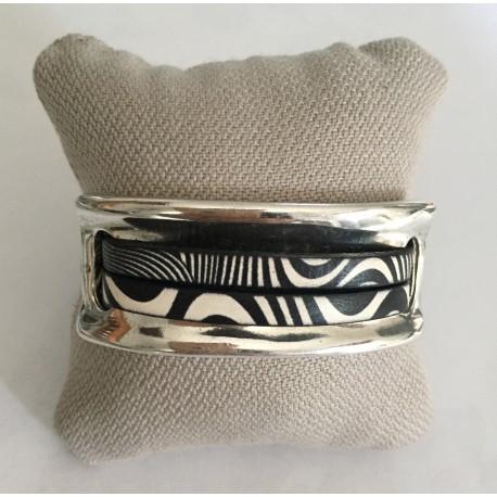 Bracelet plaque noir et blanc
